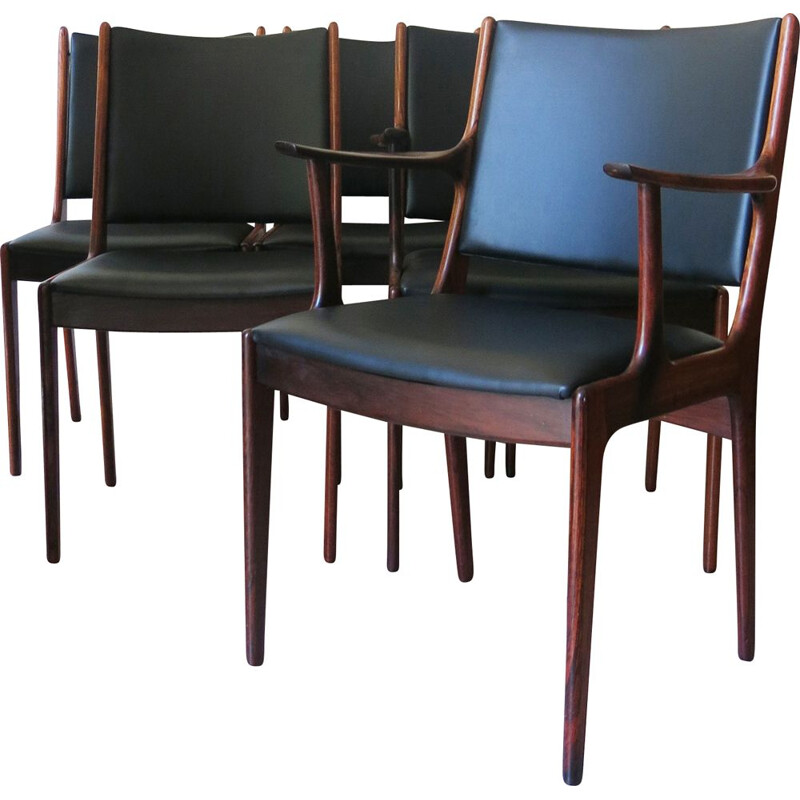 Set of 6 Rosewood Dining Chairs by Johannes Andersen for Uldum Mobelfabrik, 1960s