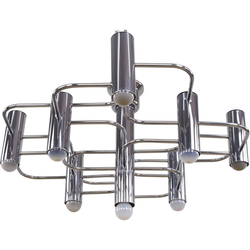 Vintage Italian Chrome Chandelier by Gaetano Sciolari for Boulanger, 1960