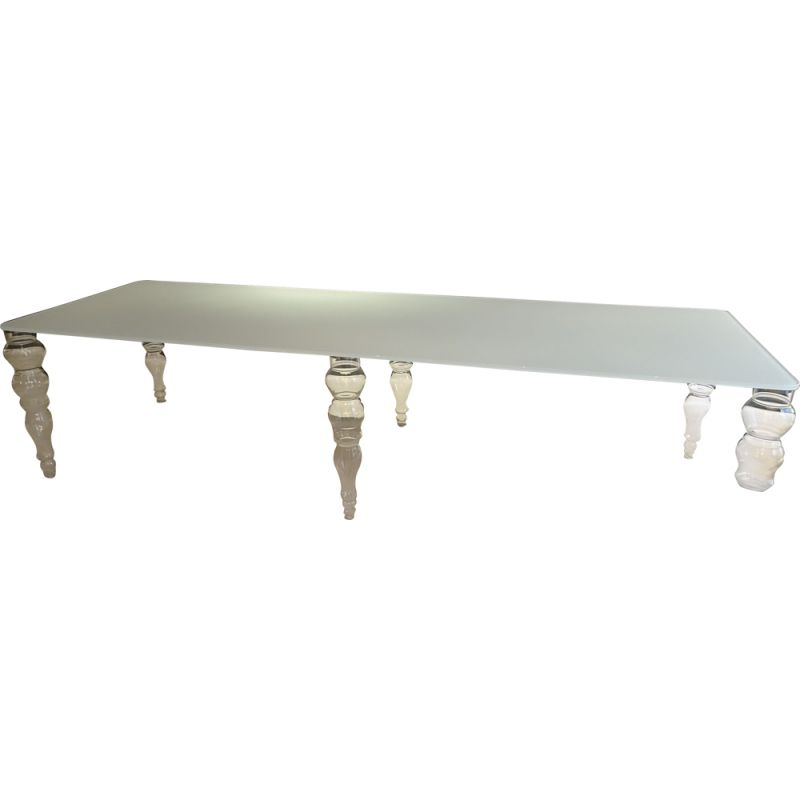 Vintage dining table in glass, Pierro Lissoni for Glass Italia