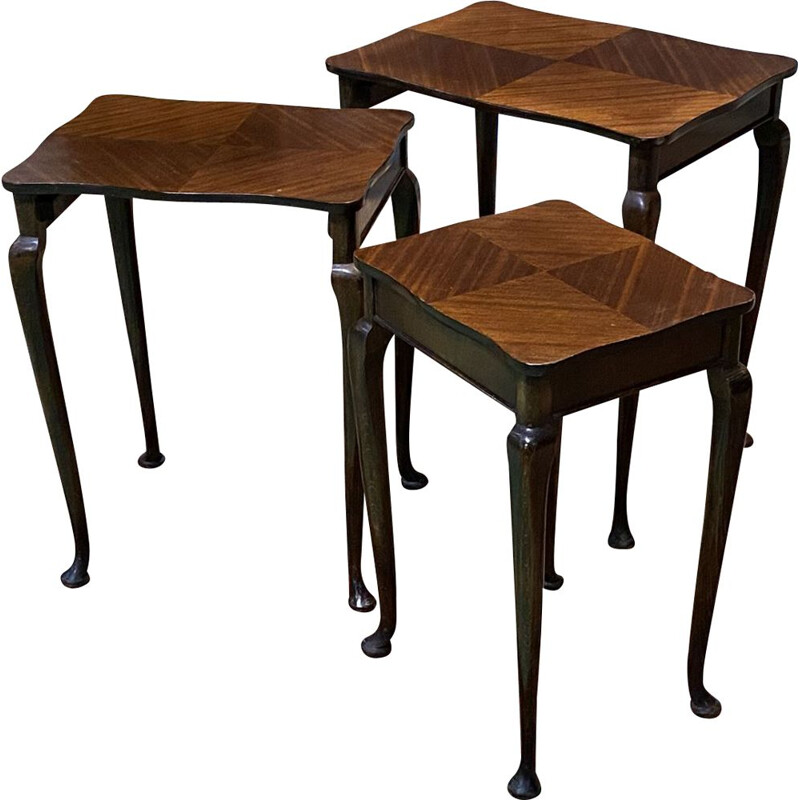 Set of 3 nesting tables by Mapple in mahogany, 1970