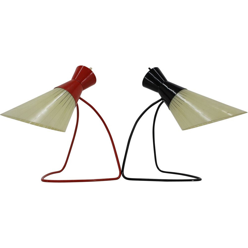 Pair of Table Glass Lamps by Josef Hurka for Napako, Czechoslovakia 1960