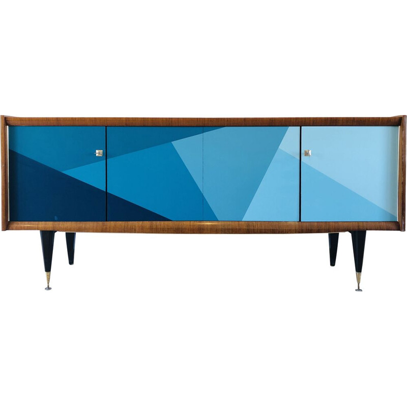 Vintage French graphic ebony macassar sideboard