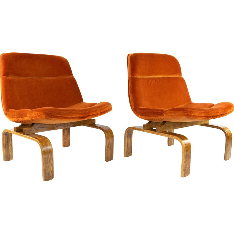 Pair of vintage Orange Velvet and Oak Lounge Chairs by AG Barcelona, 1960