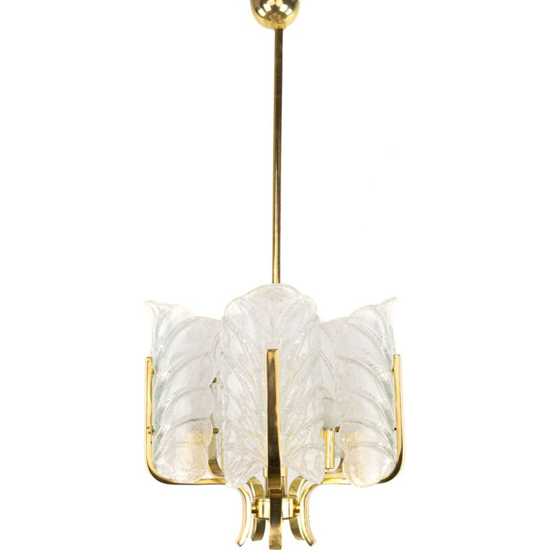 Vintage Glass Leaves and Golden Steel Chandelier by Carl Fagerlund  for Orrefors, Sweden 1960