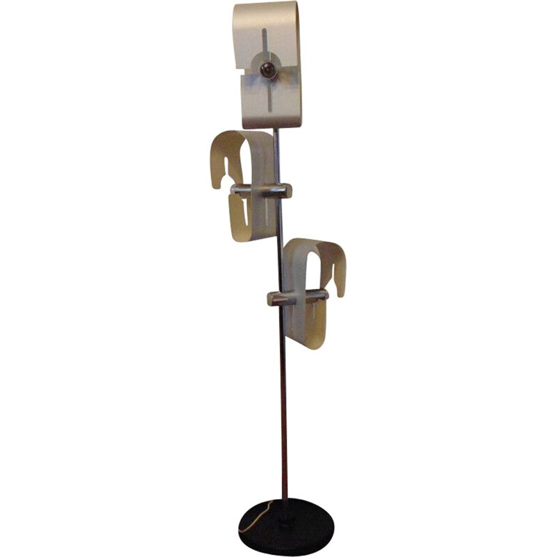 Vintage floor lamp in aluminium, 1970