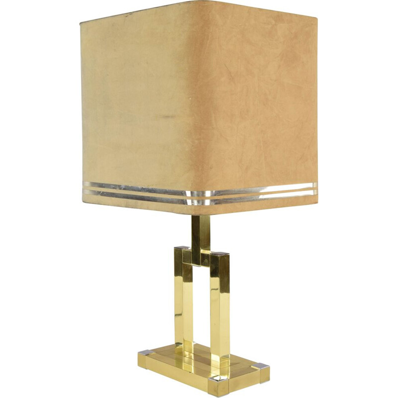 Vintage Italian Brass Table Lamp by Willy Rizzo for Lumica 1970