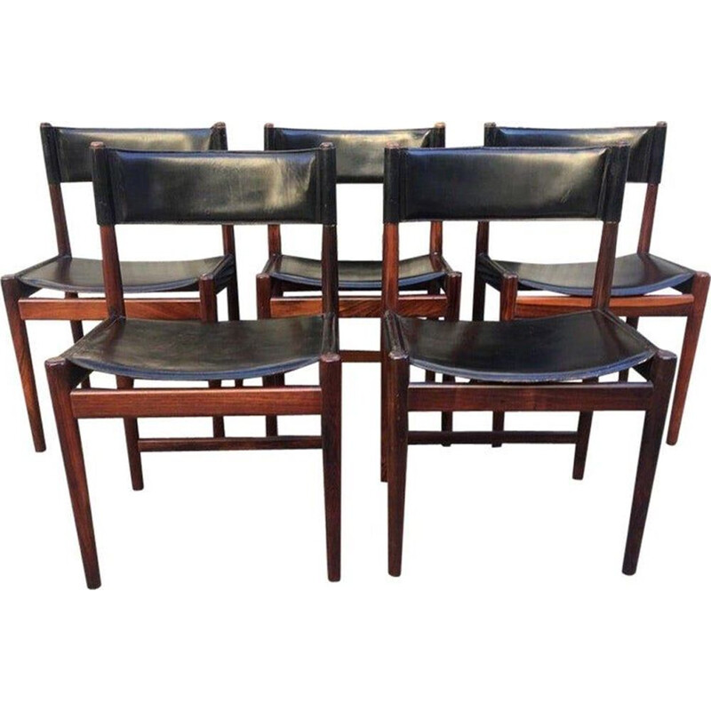 Set of 5 vintage chairs by Arne Vodder in rosewood and leather