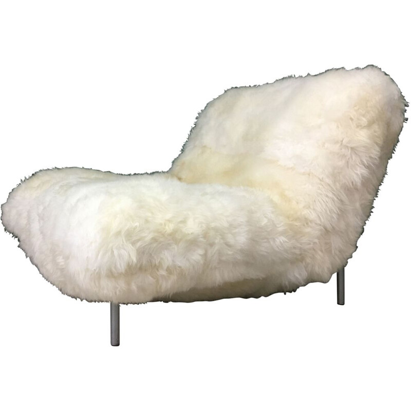 Vintage sheepskin Calin armchair for Cinna (Ligne Roset)