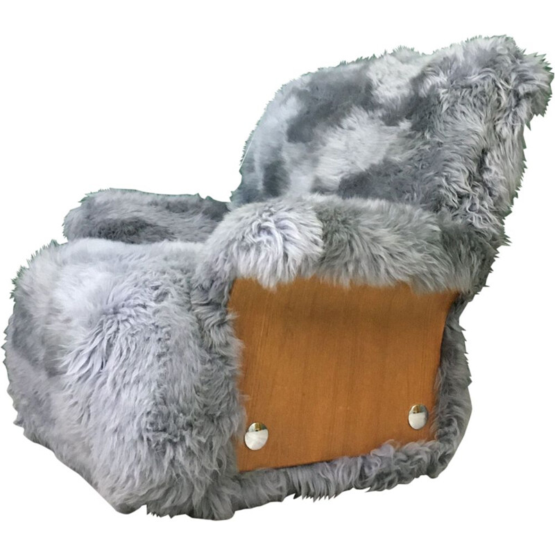 Vintage Sheepskin and Teak 'Saddle' Armchair  by G PLAN