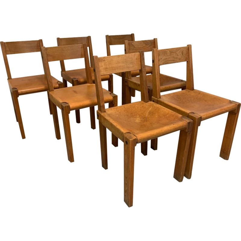 Set of 7 Chairs S24 Vintage of Pierre Chapo in solid elm, 1960