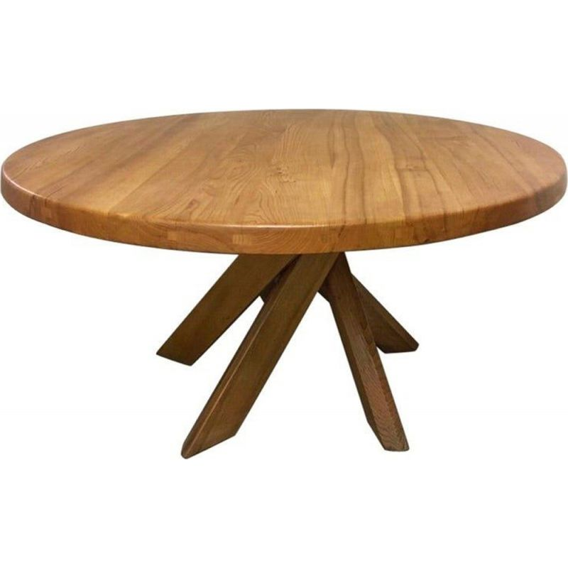 Vintage dining table in solid elm T21d or Sfax by Pierre Chapo