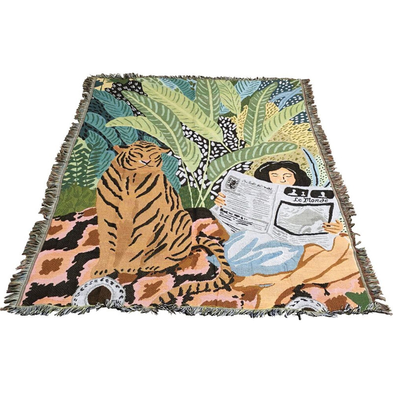 Vintage Scandinavian jungle blanket or bedspread