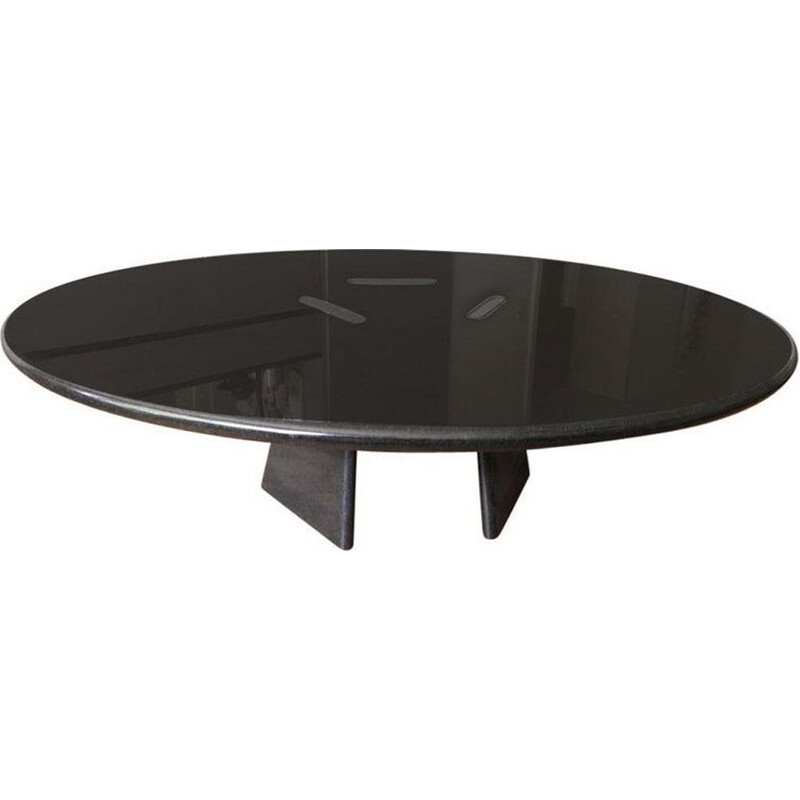 "Vintage black marble coffee table ""Asolo"" by Angelo Mangiarotti"