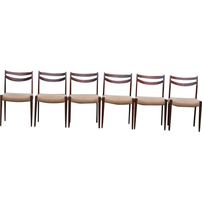 Set of 6 vintage Scandinavian chairs,  1960