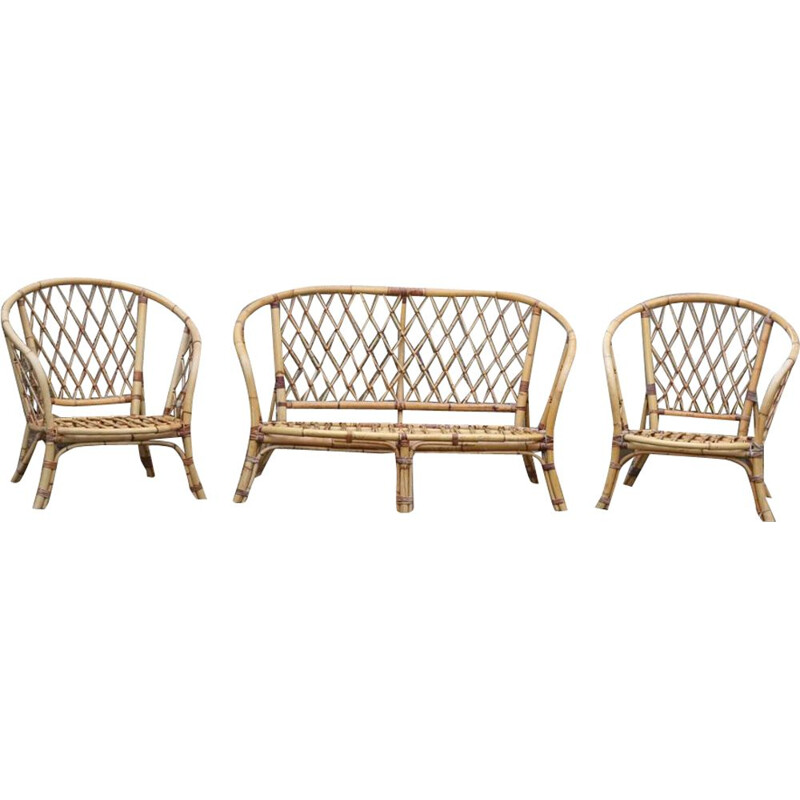 Vintage rattan lounge set with 2 armchairs and 1 bench, 1970