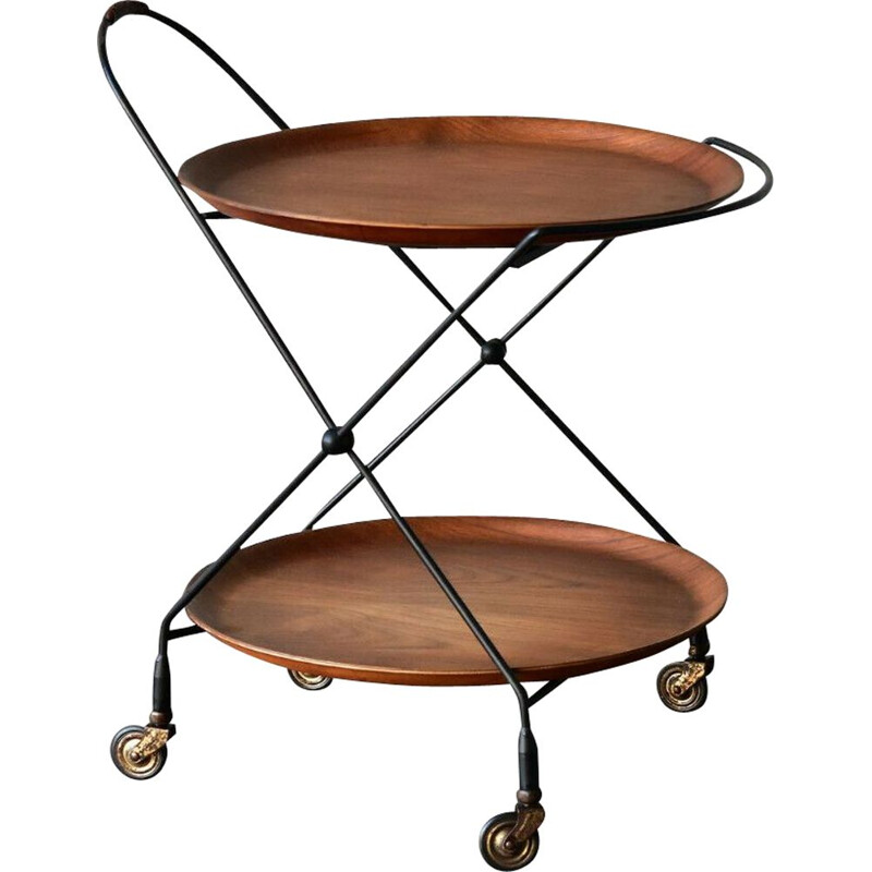 Vintage teak wood serving trolley by J.H Fabriken for Sävsjö, Sweden, 1960s
