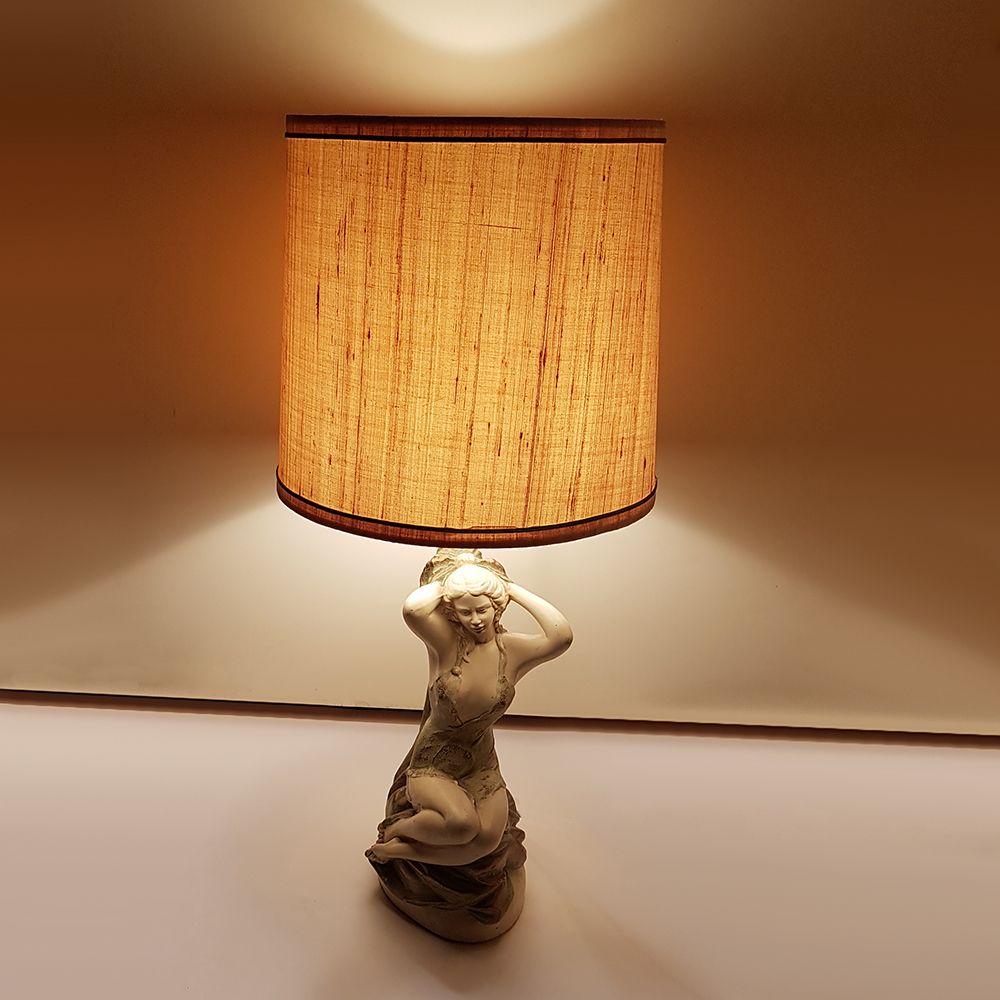 Vintage Chalkware Sculpture Table Lamp