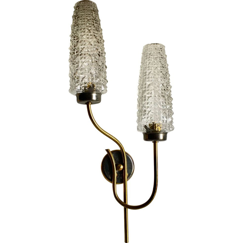Vintage double brass-plated steel wall light, 1960s
