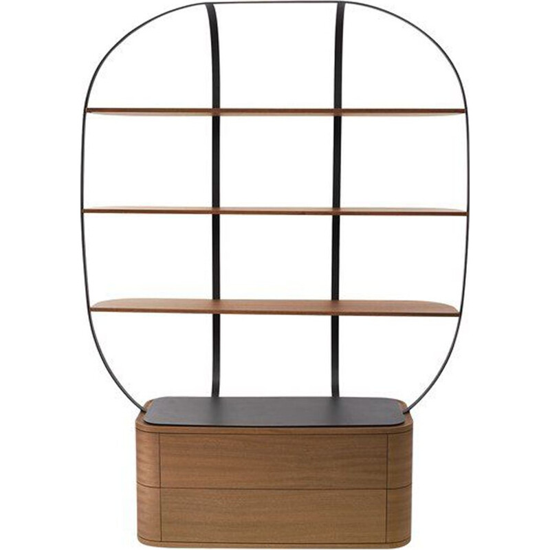 Vintage metal and mahogany bookcase by Piergil Fourquié