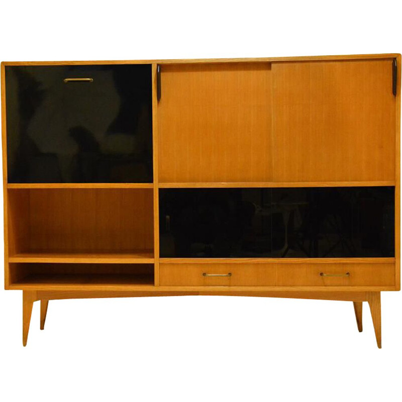 Vintage ash bookcase by Charles Ramos, France, 1960s