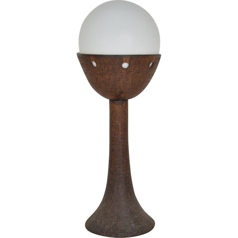 Vintage floor lamp in white opaline and ceramic, 1970s