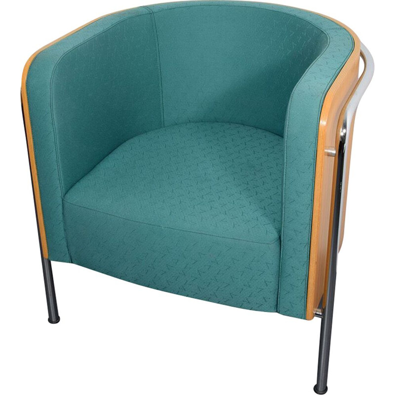 Vintage turquoise S 3001 armchair by Zschoke for Thonet, 1990s