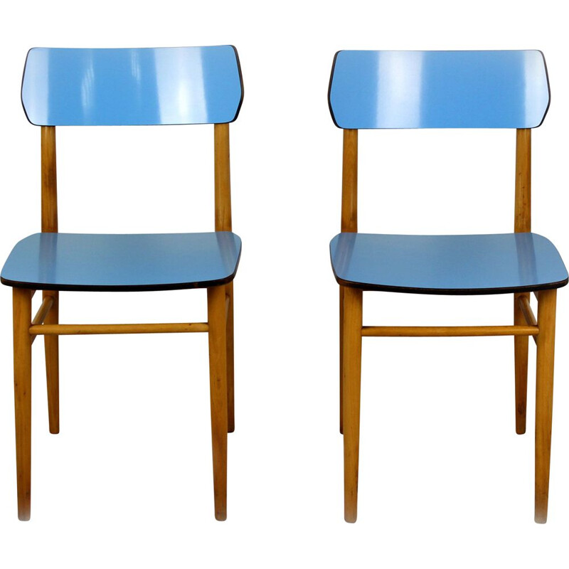 Set of 2 Vintage Blue Formica and beech chairs, 1960s