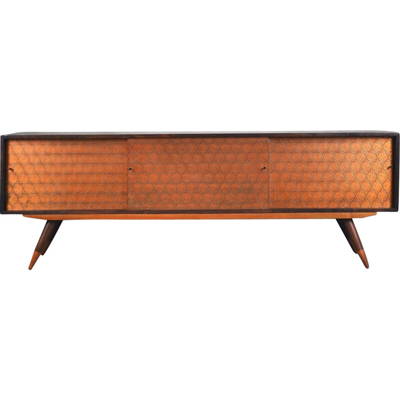 Vintage Copper and Walnut Sideboard, Italy, 1960s