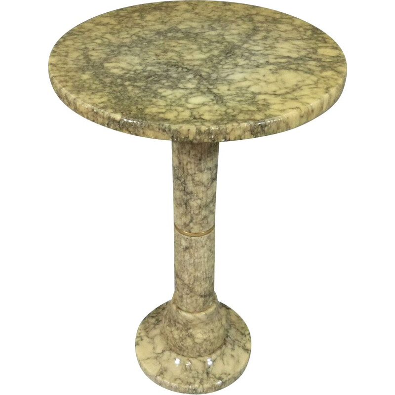 Vintage round marble side table, 1960-70s