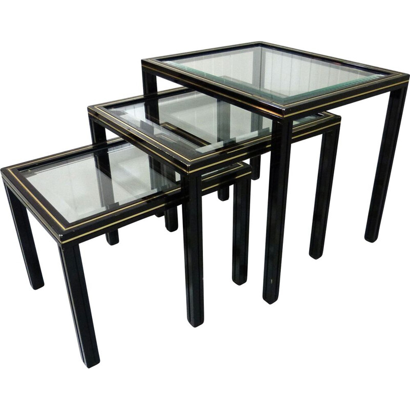 Vintage nesting tables in glass and black and brass fame by Pierre Vandel, France