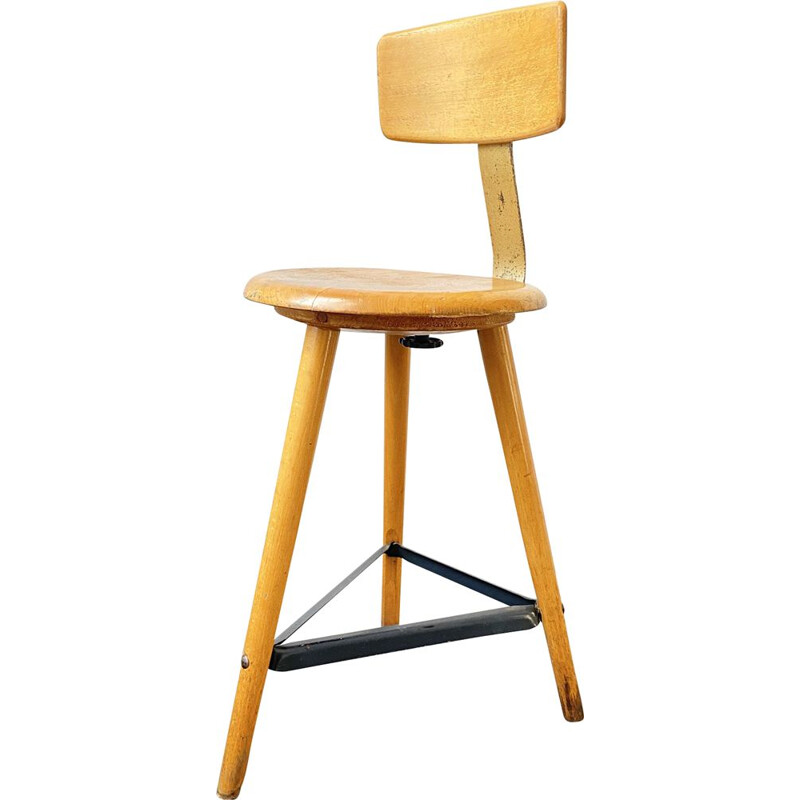Vintage wooden and metal tripod Stool by Ama Elastik, 1950s