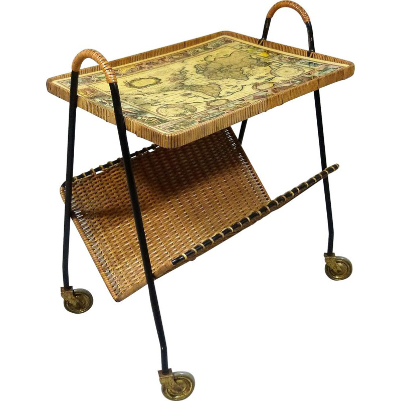 Vintage Side table on wheels in steel and brass, 1950s