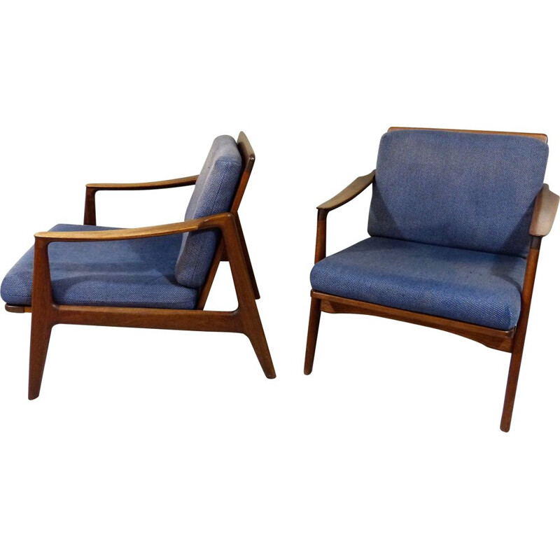 Set of 2 vintage teak danish easy chairs 1960