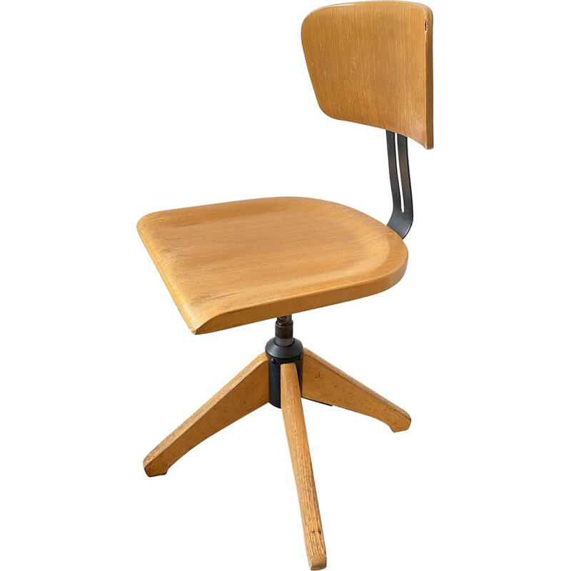 Vintage swivel chair Model 350 R with backrest made of wood and metal par Ama Elastik, 1950