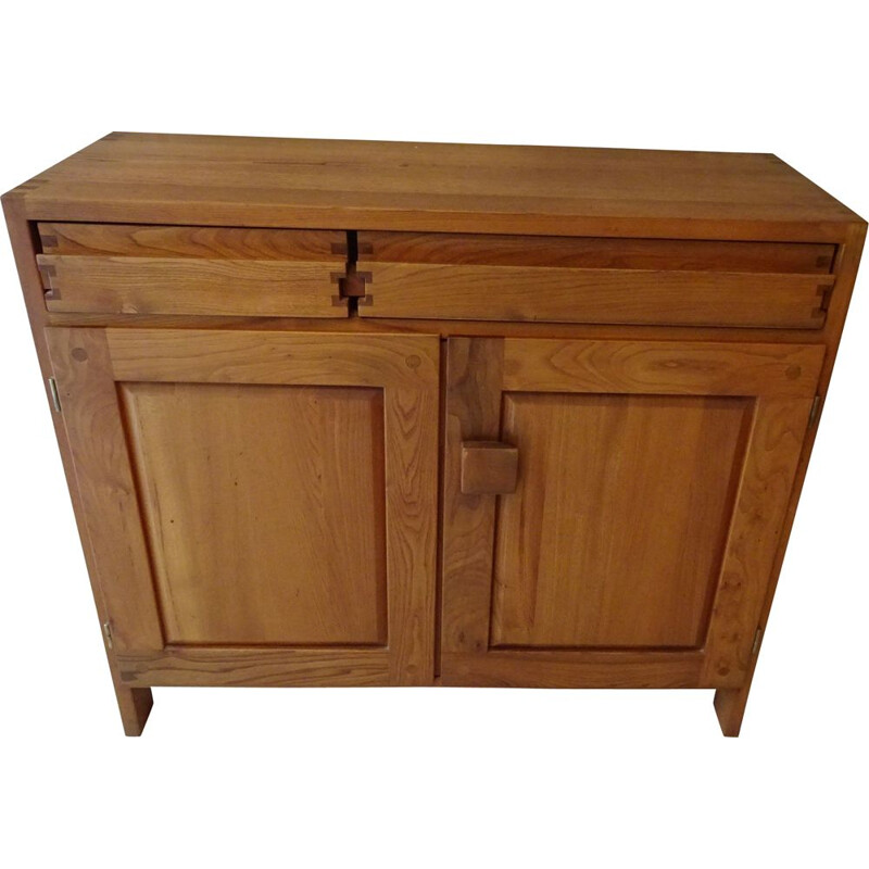 Vintage R07 sideboard in solid elm by Pierre Chapo