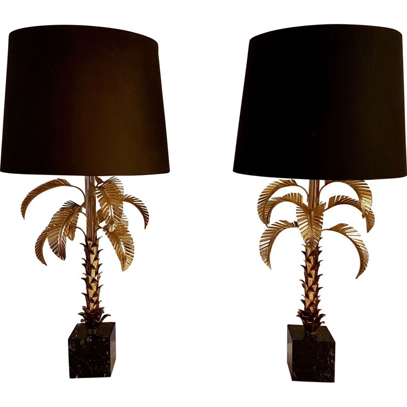 Pair of impressive gilt metal palm tree lamps