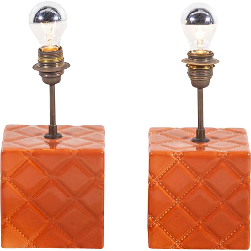 Vintage pair of ceramic and copper table lamps