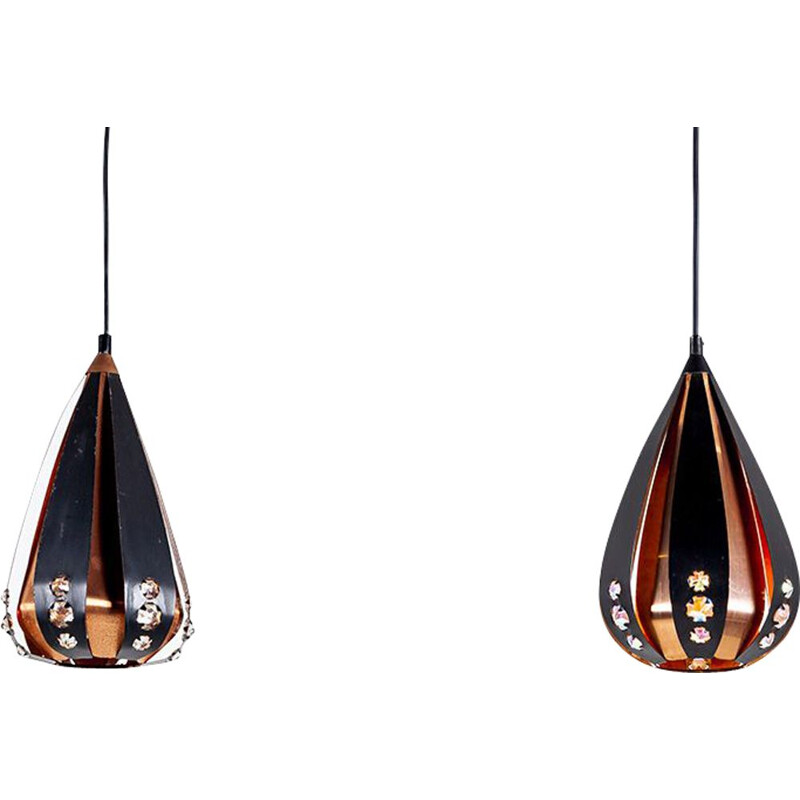 Vintage pair of copper & black metal pendant lamps by Werner Schou for Coronell Elektro, 1960s