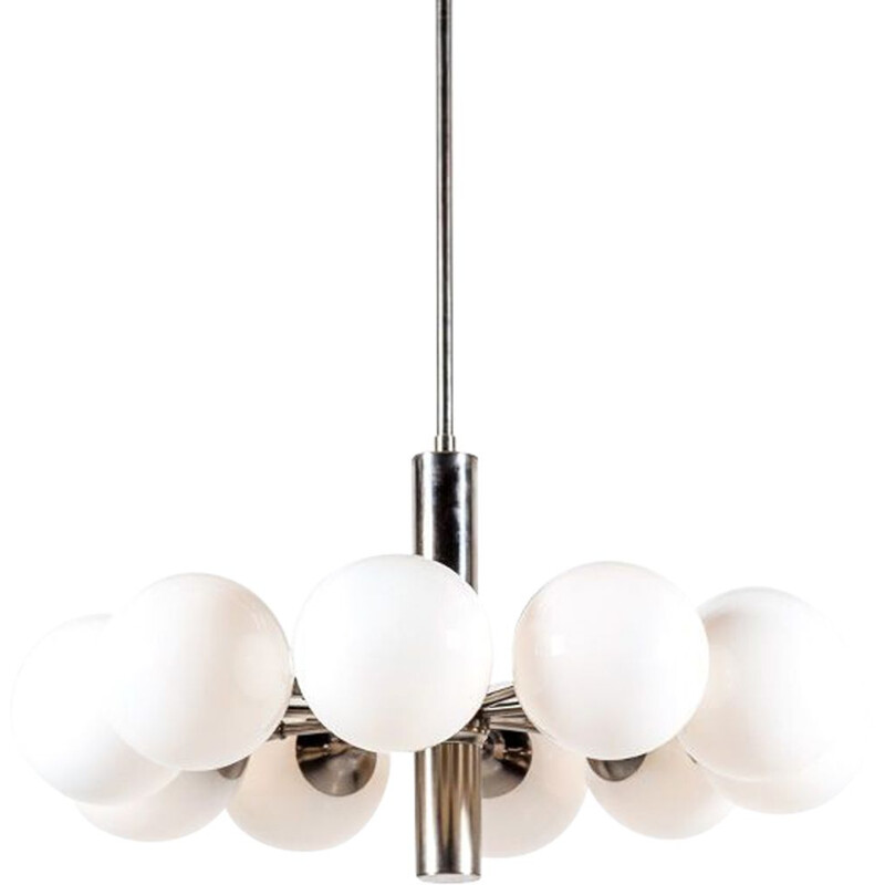 Vintage Italian chrome & milk glass chandelier by Gaetano Sciolari, 1960s