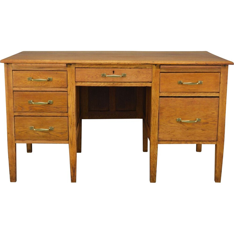 Vintage oak desk with brass handles, United Kingdom