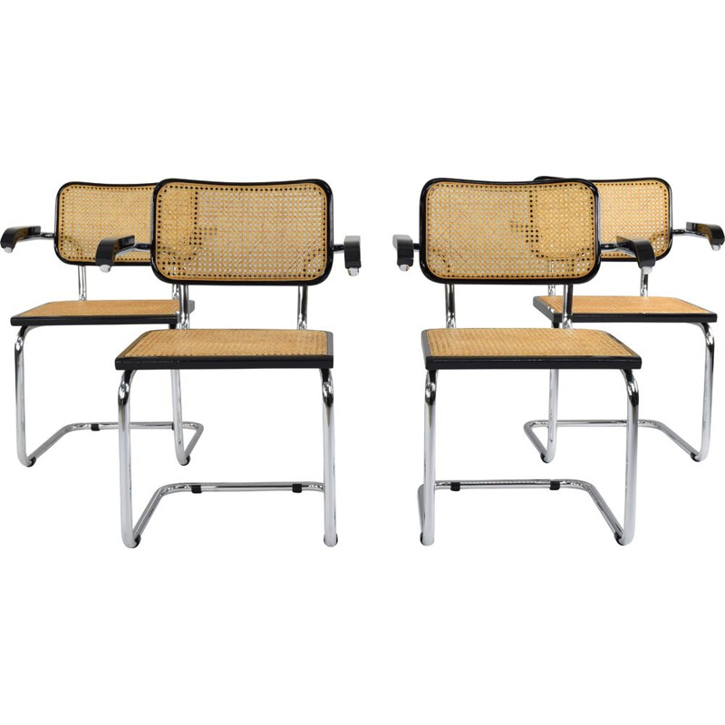 Set of 4 vintage B64 Cesca chairs by Marcel Breuer, Italy, 1970