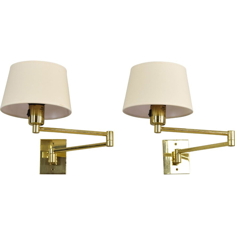 Vintage pair of swing arm brass sconces by George W Hansen for Metalarte, Spain, 1970s