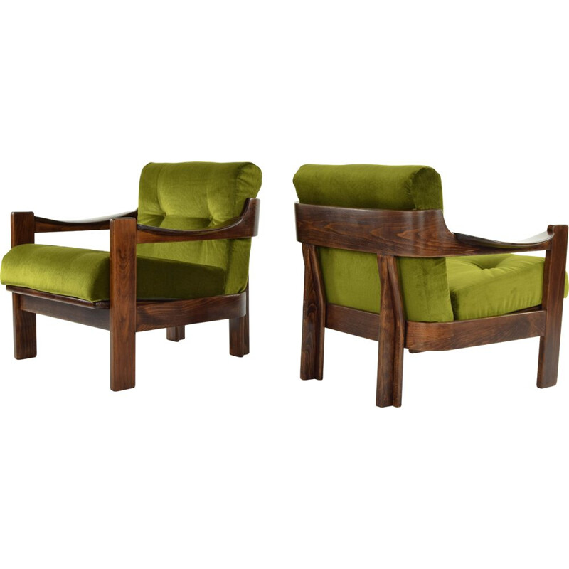 Pair of walnut and green velvet armchairs par AG Barcelona, Spain, 1970s