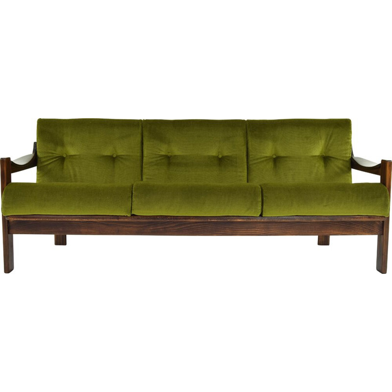 Vintage AG Barcelona Velvet and Walnut Three-Seat Sofa, Spain 1970