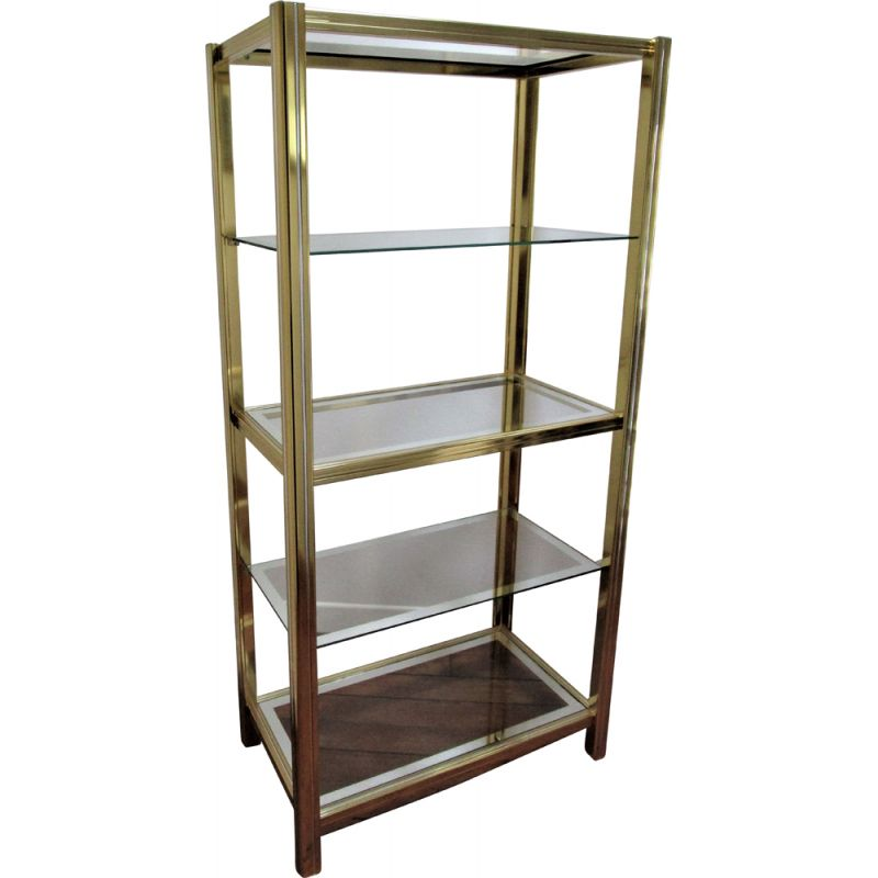 Vintage bookcase in chromed metal and gold Italian design Hollywood regency style 1970