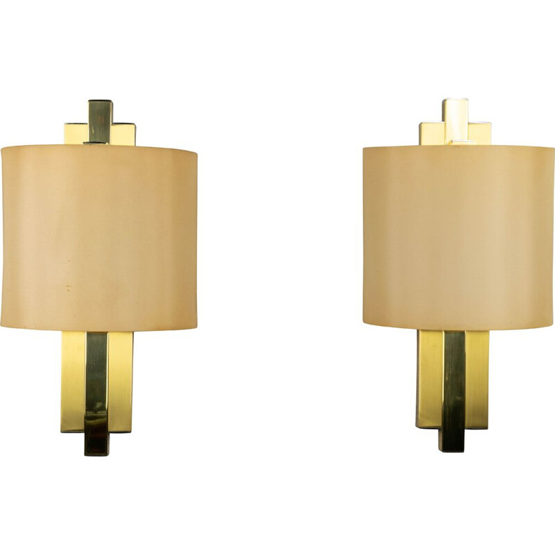 Pair of golden sconces for Lumica 1970s