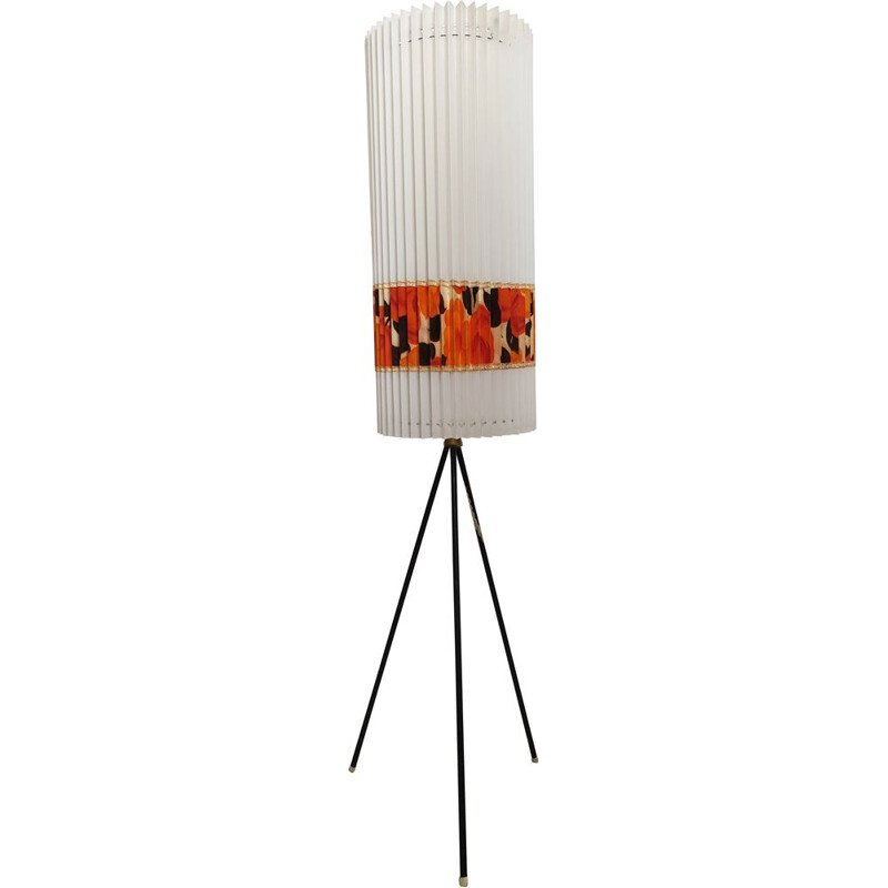 Vintage tripod floor lamp with a Rhodoïd shade by Aro Leuchte, 1960s