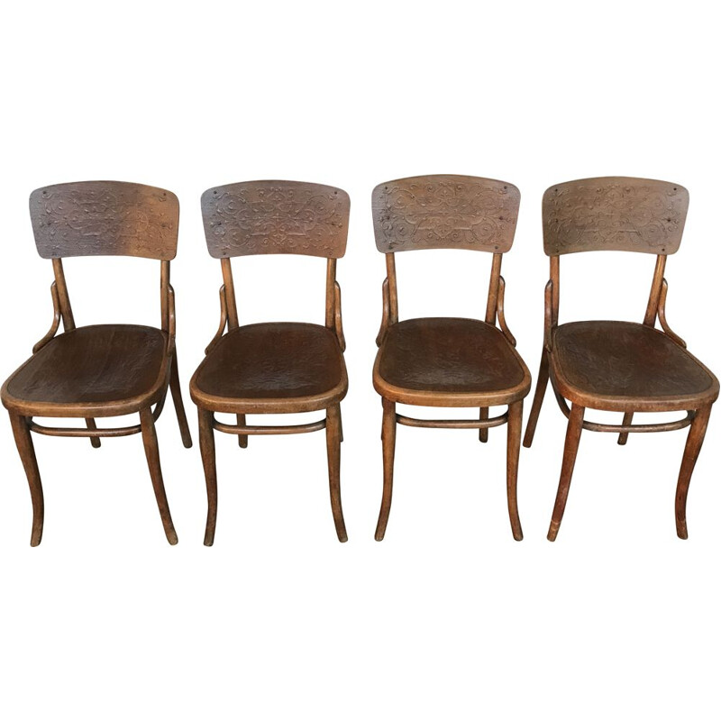 Set of 4 art nouveau vintage chairs model n 57 by Thonet