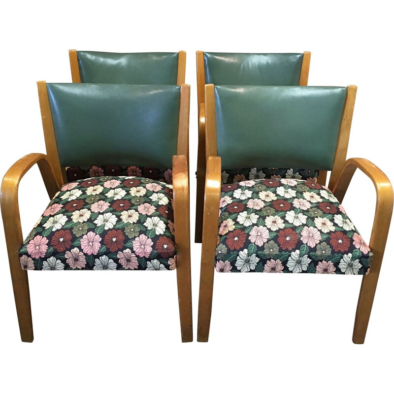 Set of 4 Bow Wood armchairs by Steiner 1950.