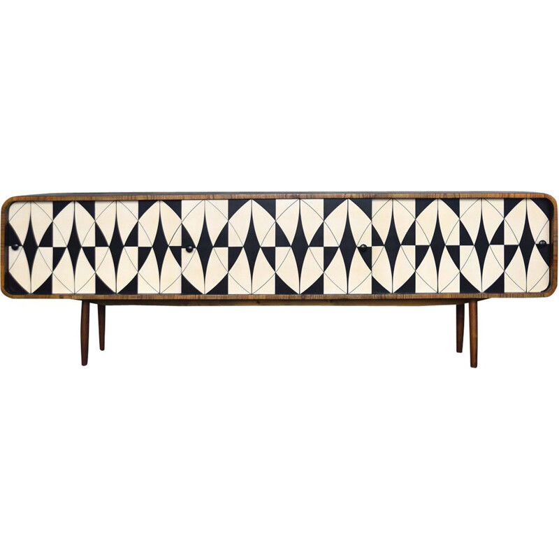 Vintage walnut sideboard with black and white pattern, 1960